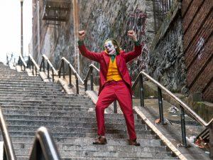 Joker dancing on stairs