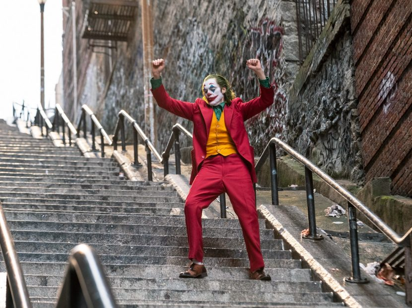 Joker dancing on stairs